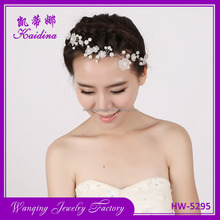 Elegant Wedding Party jewelry leaf pearl crystal flower Bride Hairbands Headband