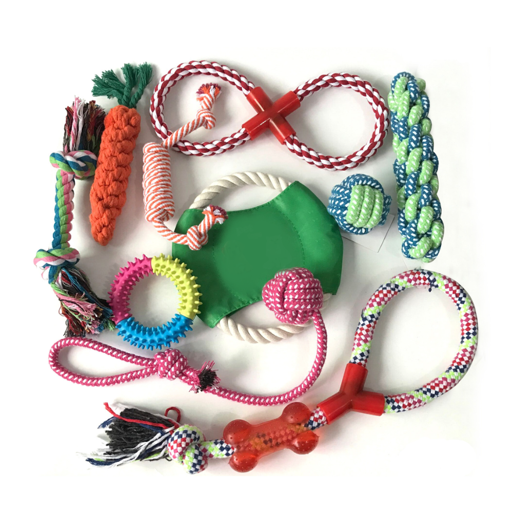 Hot Selling Multiple Choices Colorful Durable Cotton Rope Pet Chew Dog Toy Set for Dog Play Time