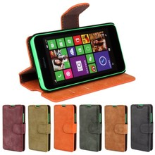 Matte Leather Wallet Mobile Phone Case Cover For Nokia Lumia 630