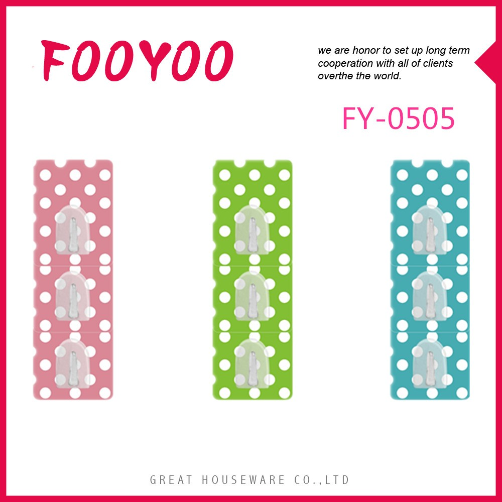 FOOYOO FY-0505 NEW DESIGN BATHROOM KITCHEN PLASTIC ADHESIVE MAGIC WALL KEY HANGER HOOKS