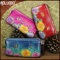 2016 Latest Flower Leather Ladies Hand Purse