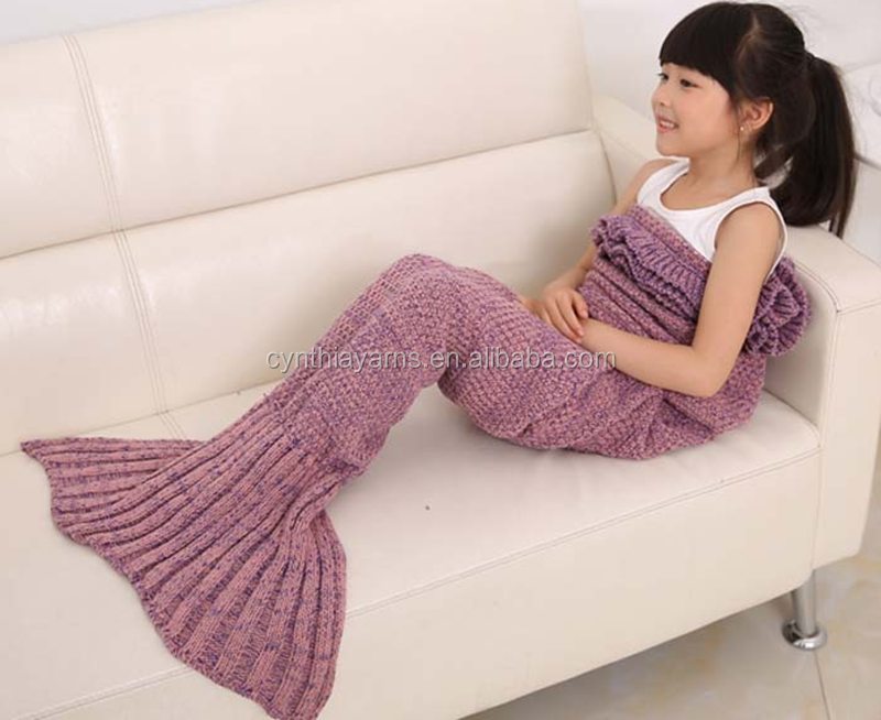 Baby Swaddling Yarn Knitted Mermaid Tail Blanket Handmade Crochet Mermaid Blanket Baby Throw Bed Wrap Super Soft Sleeping Bag