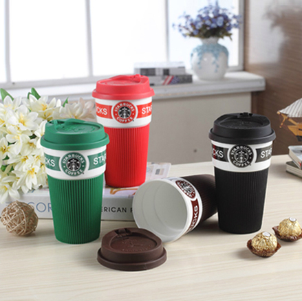 14oz ceramic Coffee Mug Cup Tumbler with silicone Lid and Sleeve