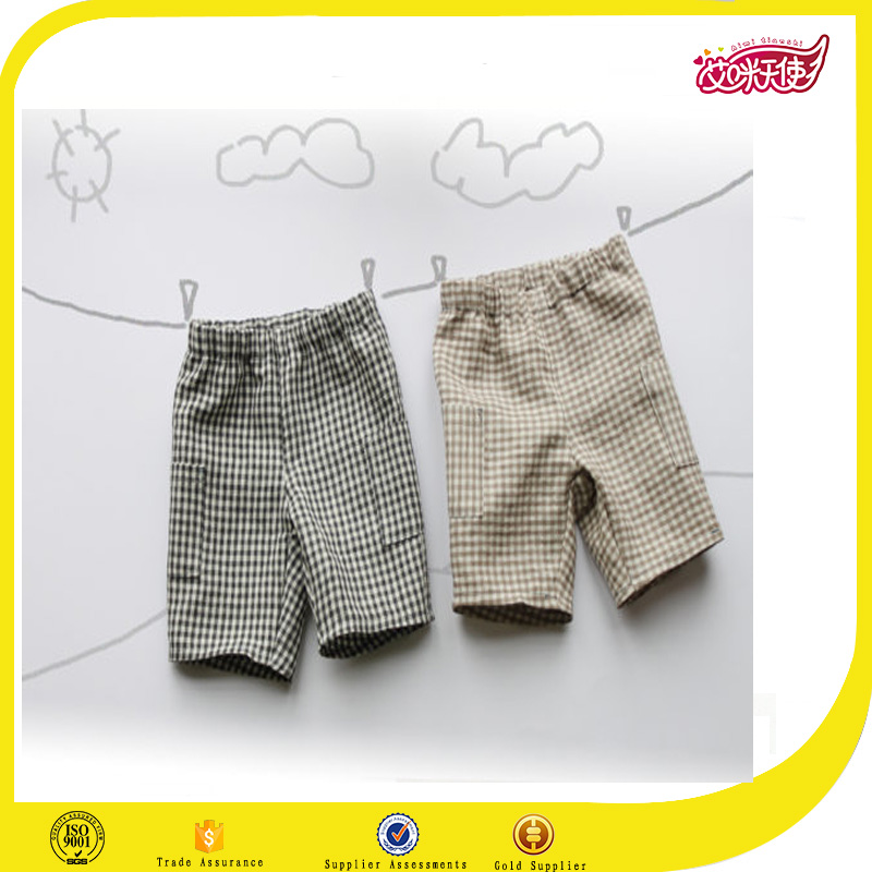 Khaki and grey checked plaid kids wholesale blank sweat shorts wholesale uk school kids shorts boxer shorts capri plus size