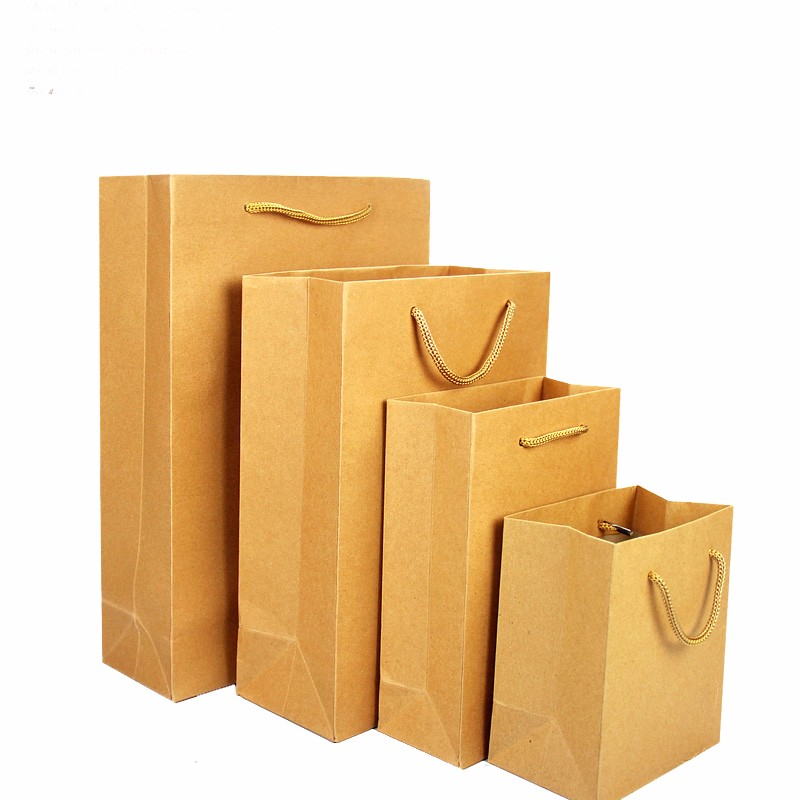 recycled brown Kraft paper bags with rope handle