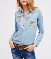 Fashion button down indigo women denim shirt