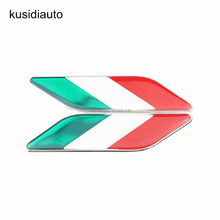 Car-styling 3D PVC Aluminum alloy Car Stickers Italian Italy Flag badge Badge Emblems Decal Decoration