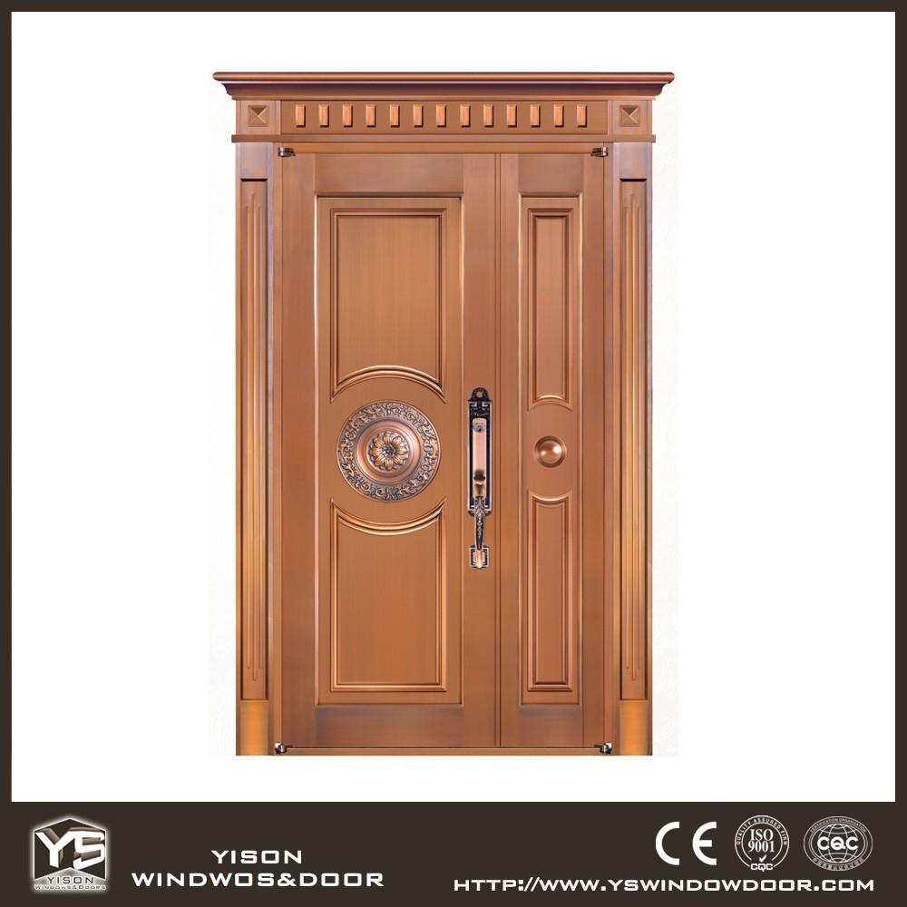 Unequal bronze exterior door copper door front double door for Order front door