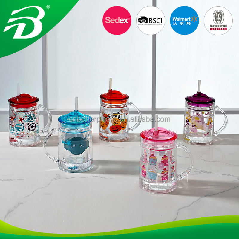 200ML acrylic double walled tumbler with straw