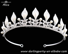 Bridal White Pearls & Crystal pageant crowns Headdress Prom Princess