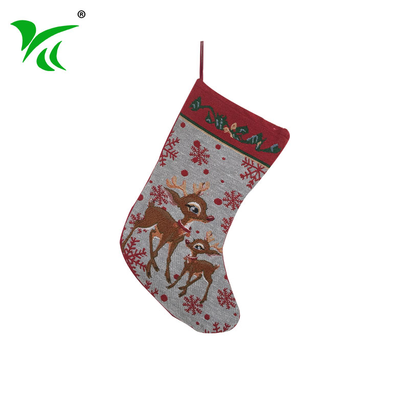 Red Jacquard woven christmas stocking <strong>decoration</strong> on sale