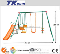 CE Certifcated outdoor plastic baby swing and slide set