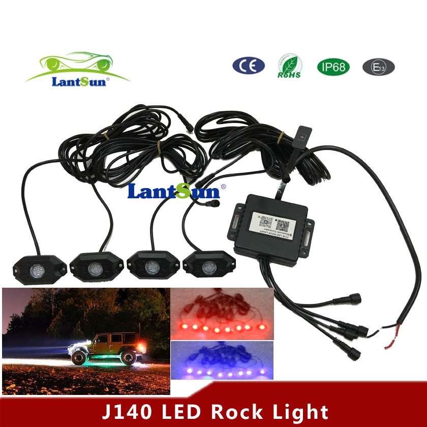 New J140 Bluetooth contrllor RGB led rock light for offroad truck/jee p/atv