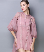 Lasted Design Sexy Balloon Sleeve Embroidery Dress