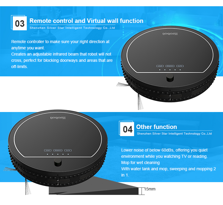 Professional ce rohs certification smart electric floor cleaning robot vacuum cleaner for home use