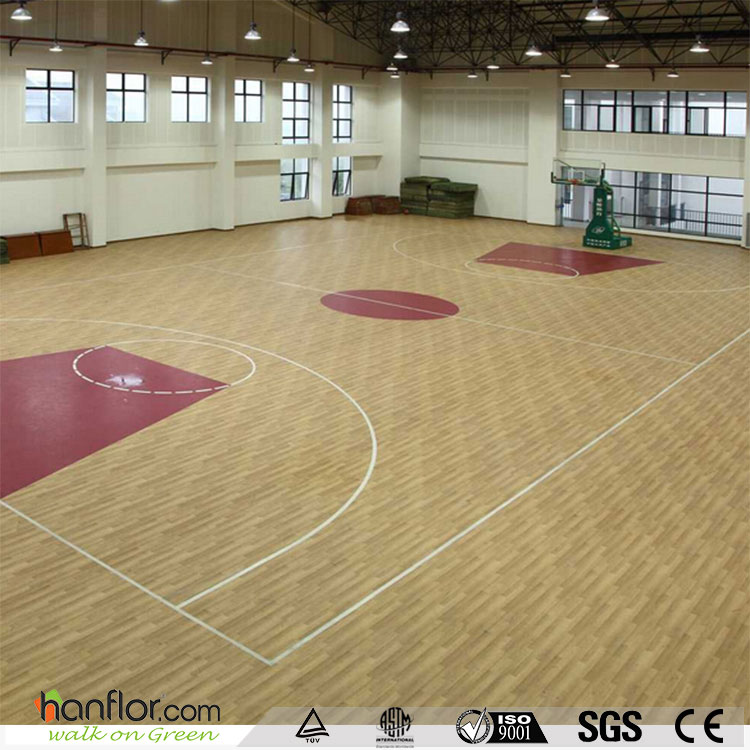 Durable non - slip pvc used basketball flooring