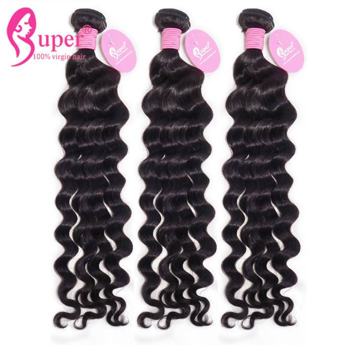 3 Bundles Of Brazilian Hair With Closure For Swiss Lace Free Middle 3 Part Natural Wave Weave