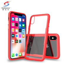 Saiboro 2018 Newest shockproof tpu frame 0.77MM tempered glass back cover mobile phone case for iphone X 8 7 6 plus case