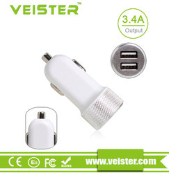 Portable 2.1a cell phone car charger dual usb travel charger