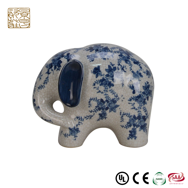 High end gifts statues ceramic elephant ornament small figurine