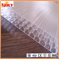 UV protection coated U-lock polycarbonate honeycomb sheet 100% GE Lexan PC Resin Roofing Glazing Factory Price Panels Hot Sale