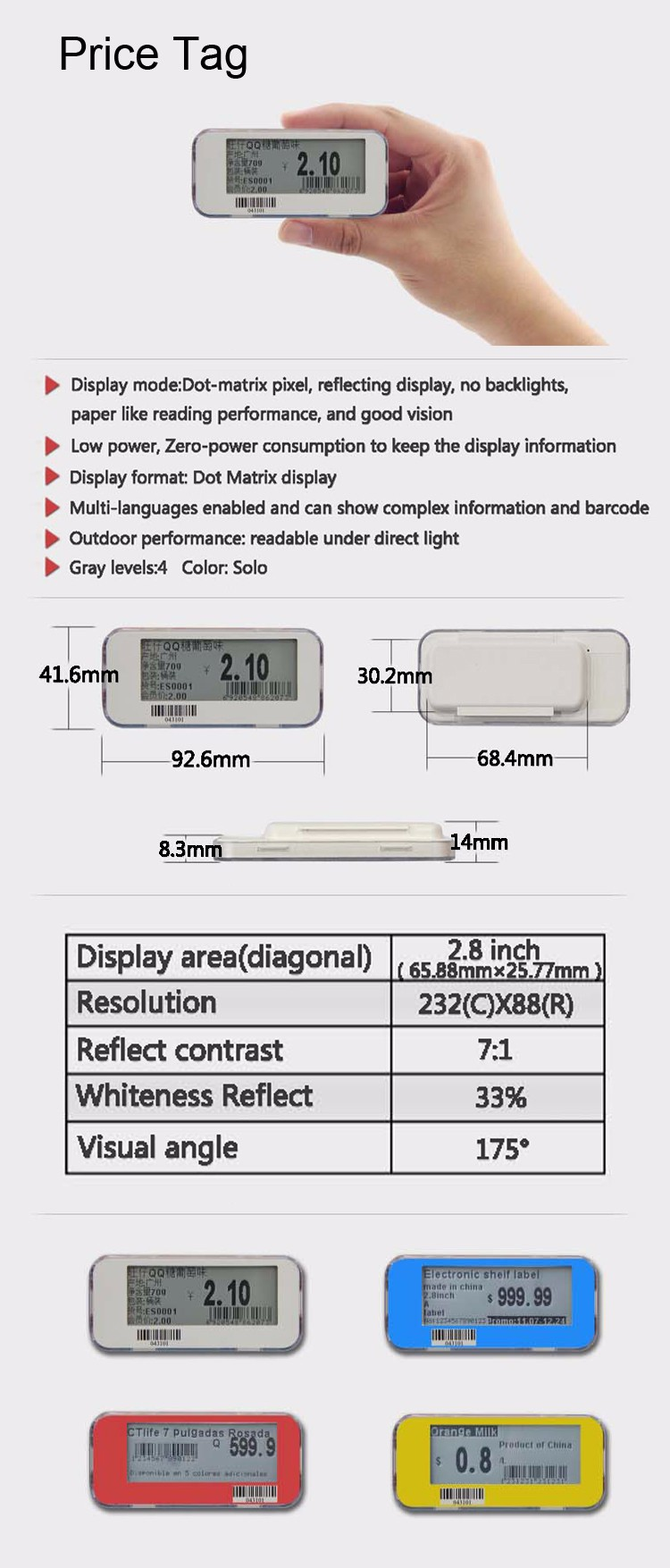 E-ink eink Electronic Price Tag Label