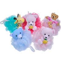 2015 hot selling cartoon baby bath sponge ball animals toy BA-E-058