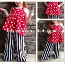 NEW Girl Chevron Pant Set Red and White Polka Dots backless Outfit matching Black&White Stripe Pants