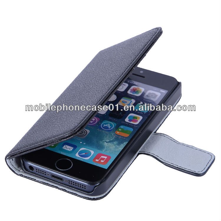 custom high quality fiber lining black faux leahter book stand smart phone case for iphone 5 5S with belt endshield