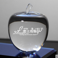 glass crystal apple figurine for customize engrave MH-ZZ50