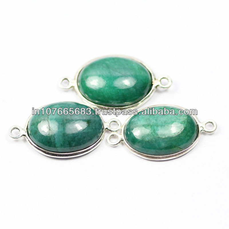 27mm Natural Green Emerald Smooth oval Cabochon 925 Silver Handmade Bezel Connector