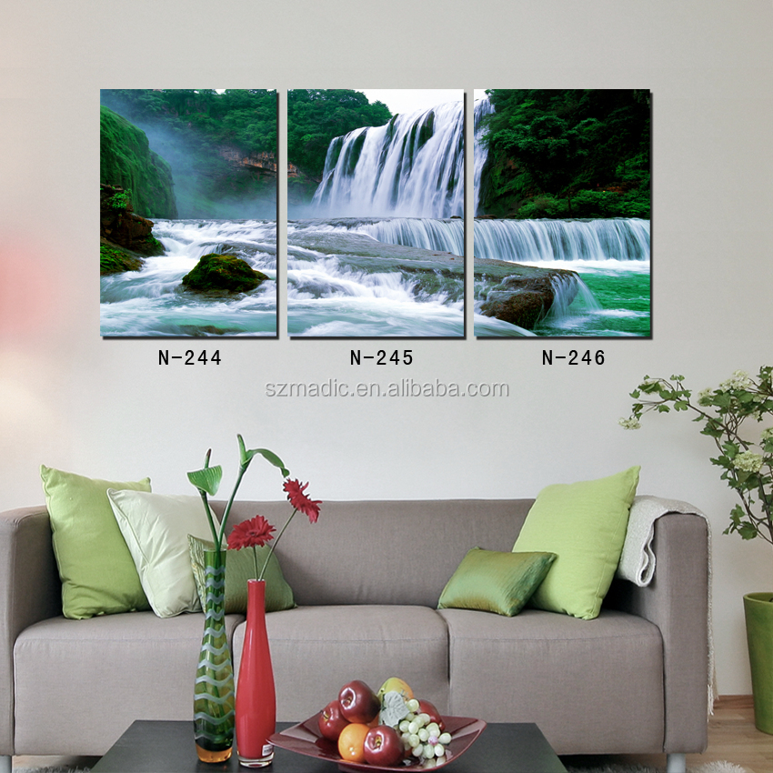 Modern Giclee Prints 3 Piece Canvas Art Home Decoration Waterfall Scenery Oil Painting Cheap Paintings Framed
