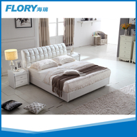 Style white leather bed with storage F025