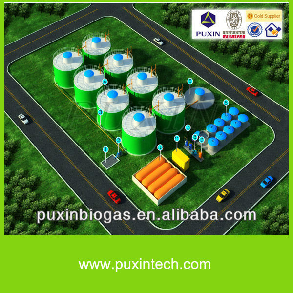 Advanced new clean energy mastered by PUXIN biogas anaerobic digester for huge biogas projects of city