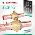 Sanrong Refrigeration Brass Ball Valve with Access Port, 2-Way Refrigeration Service Valve