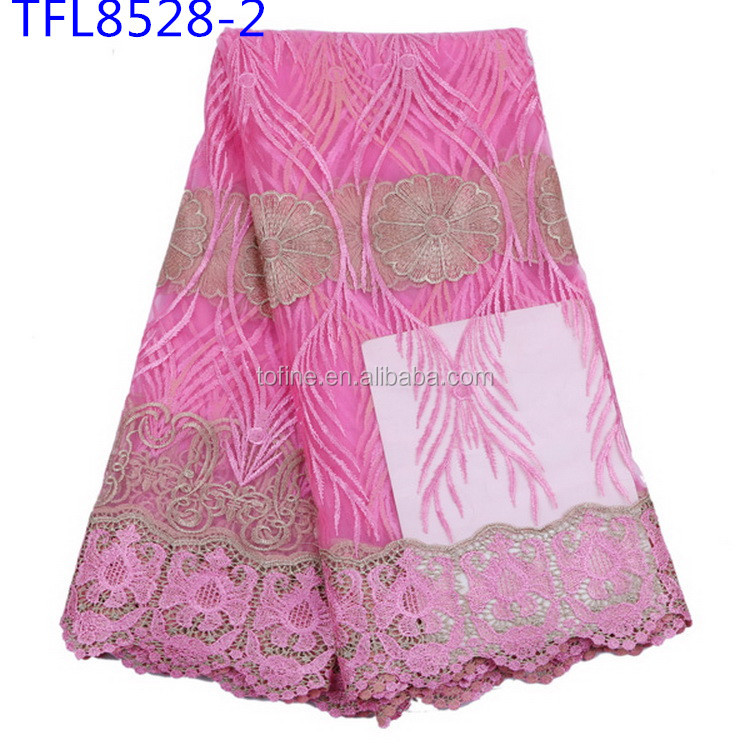 Fashionable Princess Style Dress Fabric Summer charming Baby pink tulle Lace for Young Girls Dress