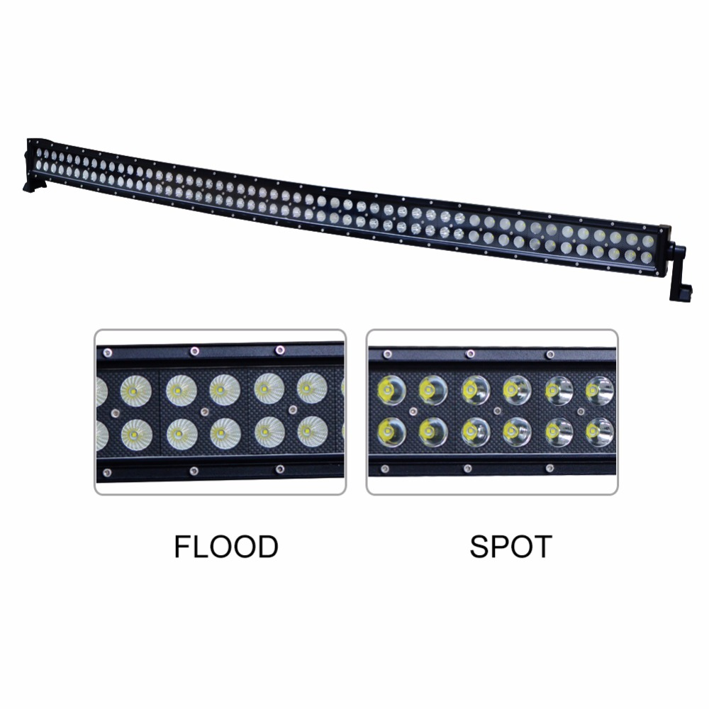Double Row 312W 52 inch Curved LED Light Bar, Poweful LED 4X4 work light Reflector