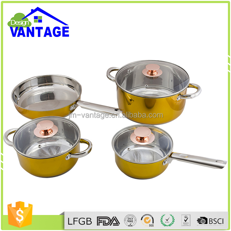 Yellow 7-Piece Kitchen NonStick Hard Enamel Cookware Set Pots Pans stainless steel kitchen set