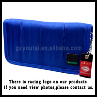 Japstyle Wallet JDM Version Racing Seat Fabric and Leather Wallet for Racing JDM Racing Wallet Blue