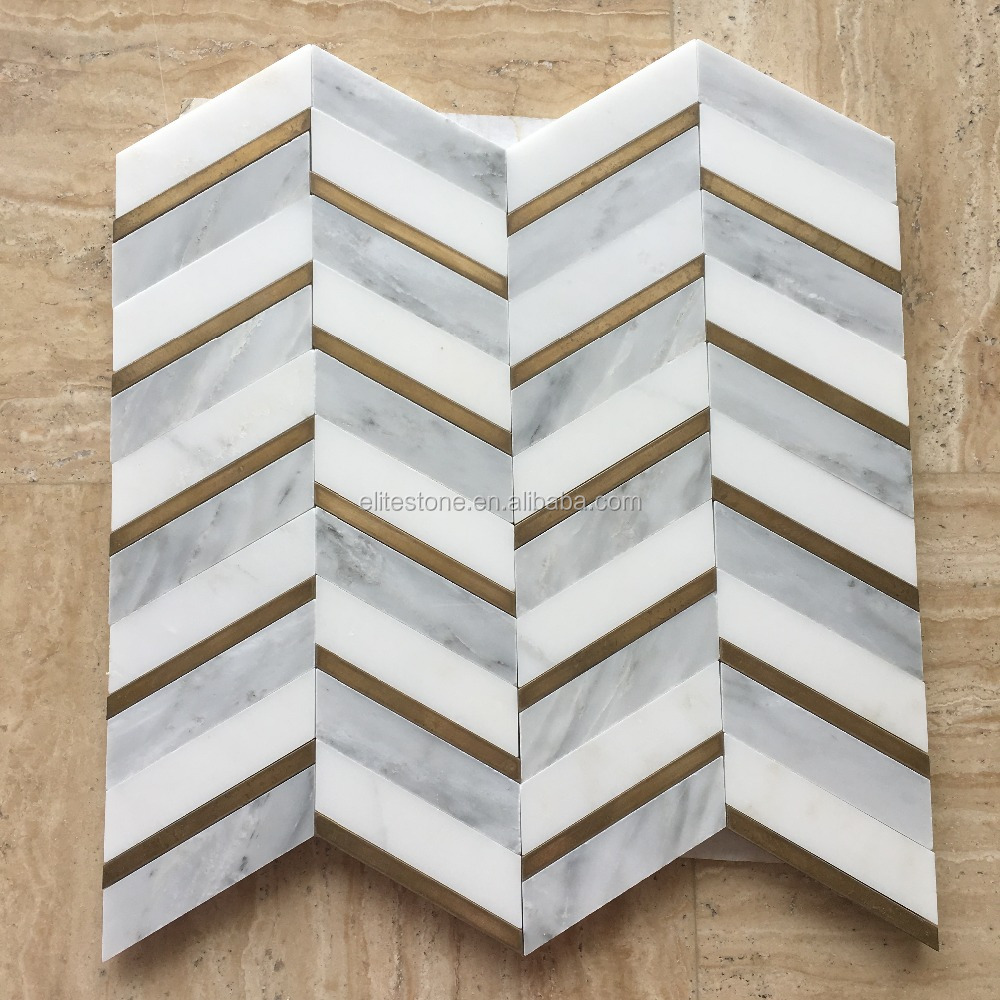 polished natural stone chevron marble bathroom floor tiles mosaic