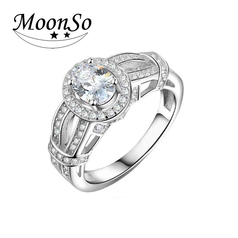 wholesale high quality white oval cut CZ diamond and wedding ring KR1946S MOONSO