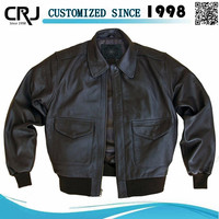 Custom Men's Aviator Leather Bomber Jacket With Fur Collar