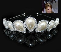 2015 Gorgeous design bridal tiara nd crown with pearl silver rhinston plated fashion style