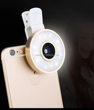 LED Camera Selfie Light for Mobile Phone Universal Clip fisheye wide angle macro lens 6 in 1