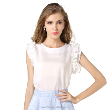 2016 Lotus hedging ribbon bow wood ear sleeveless shirt chiffon blouse