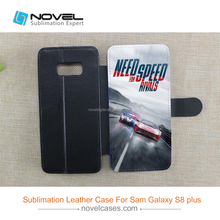 2017 Sublimation leather flip case for Samsung S8 plus