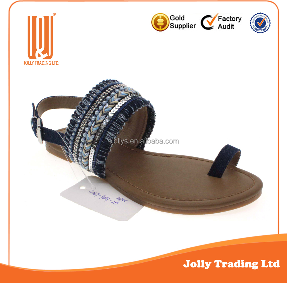 New Fashion Flat Summer Beautiful Weave Upper Indian Style Ladies Sandals