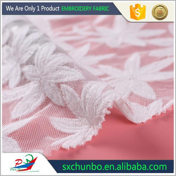 100% POLYESTER SWISS LACE FLOWER EMBROIDERY FABRIC DESIGN FOR FASHION GARMENTS AND BAGS
