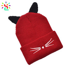 Cute ear cat hat knit beanie plain winter cap custom embroidered beanies knitting hat cap wholesale