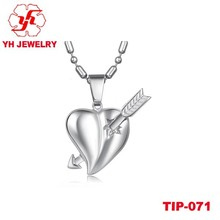 Magic Of Love Titanium Sword Of Cupid Pendant With Heart Design With High Polish Top Quality For Lover In Wedding/Any Occasion